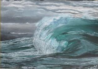 Moody Malachite. Acrylic on 10 X 14 inch canvas board, framed.