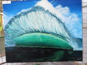 Sunlit Wave. Acrylic on 24 X 30 inch gallery wrapped canvas. Sold.