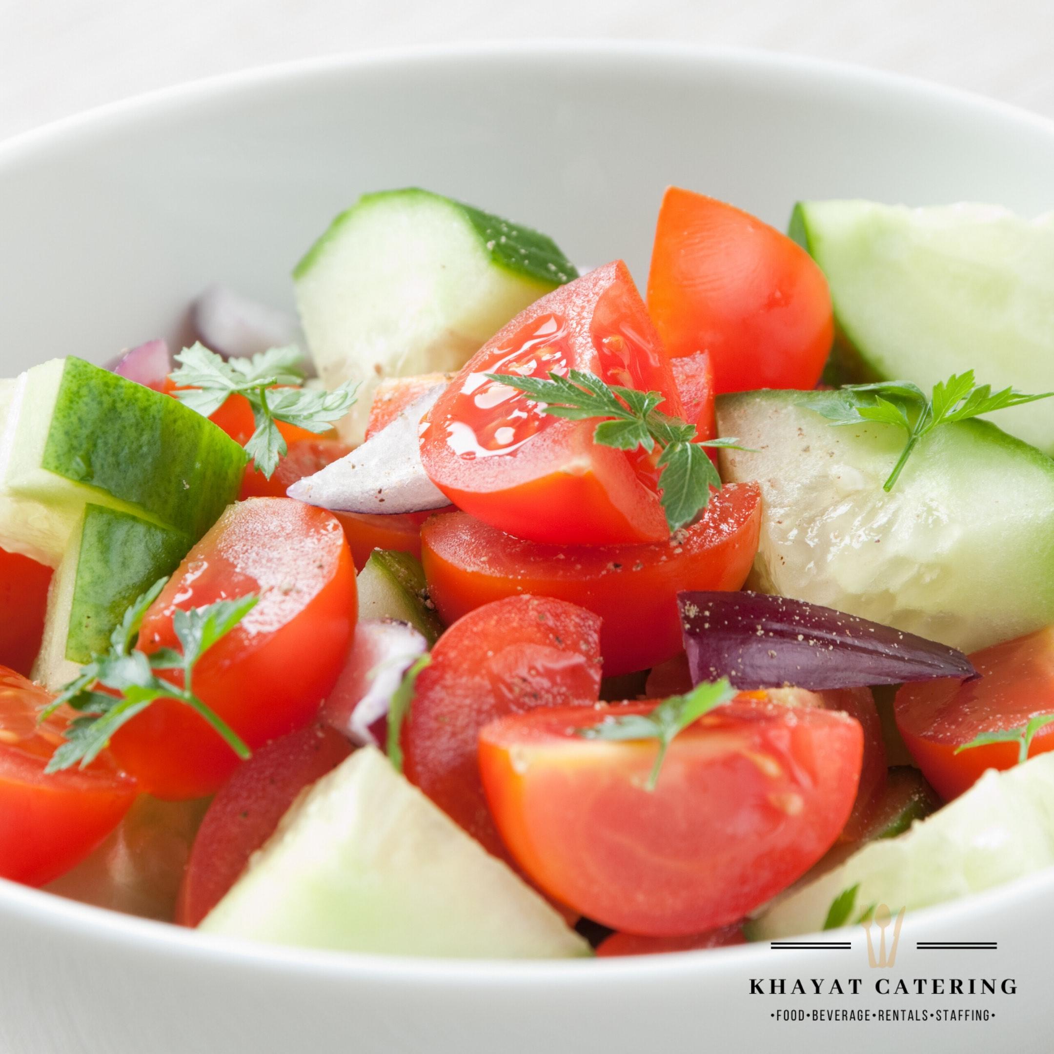 Khayat Catering tomato cucumber onion salad