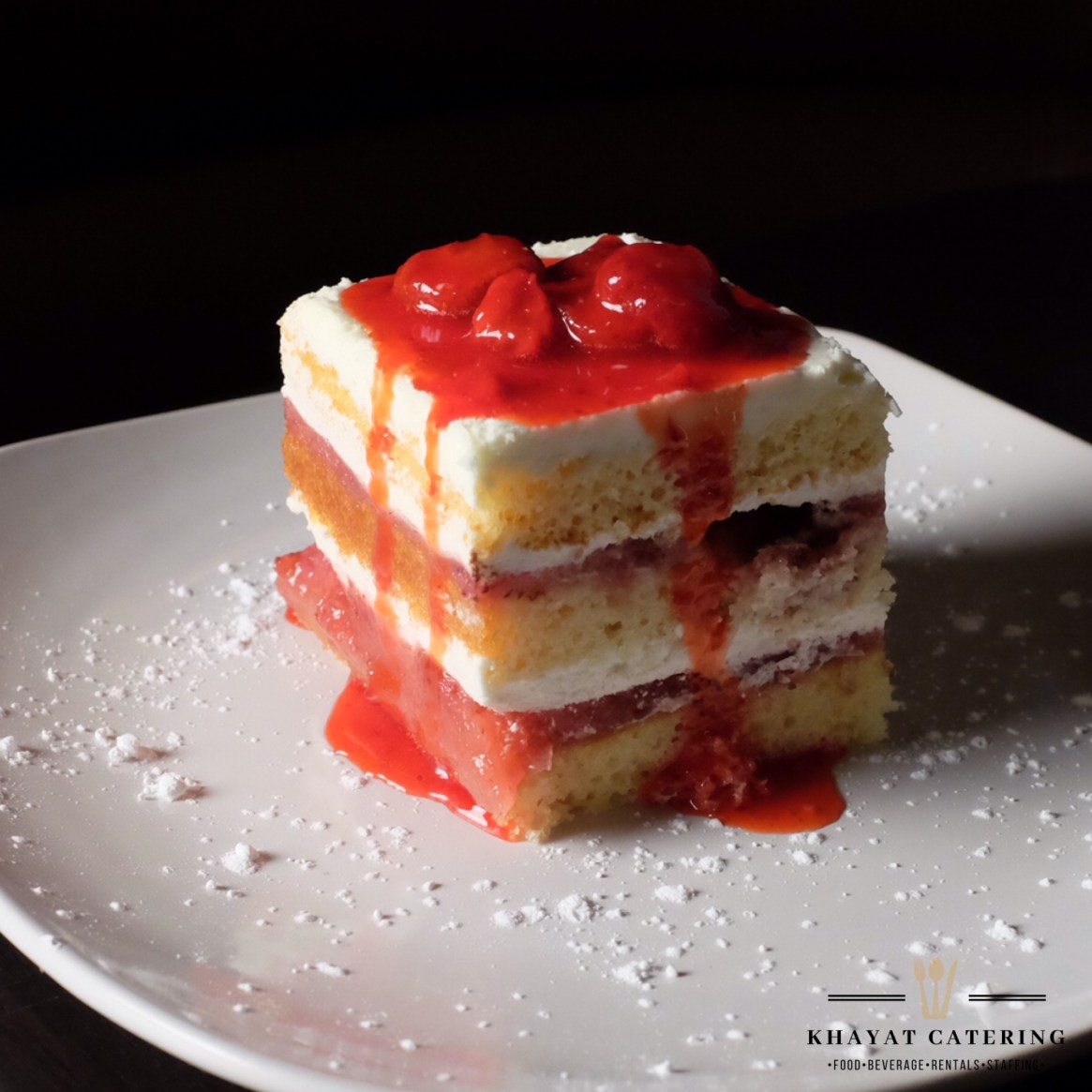 Khayat Catering tres leches strawberry shortcake