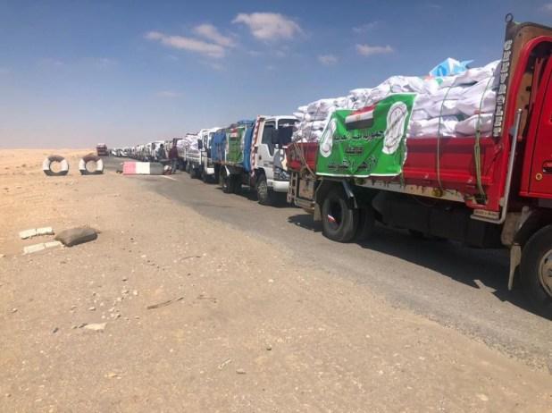 شاهد: وصولقافلة الأزهر الإغاثية إلى قطاع غزة عبر معبر رفح