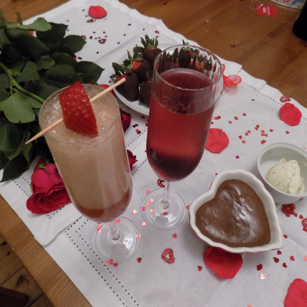 champagne cocktails and chocolate soup.