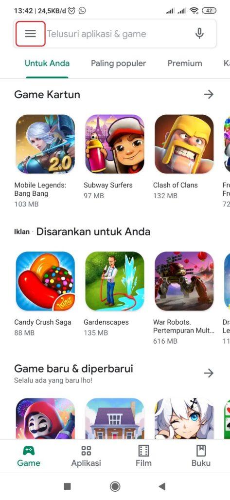 Ubah email di Play store