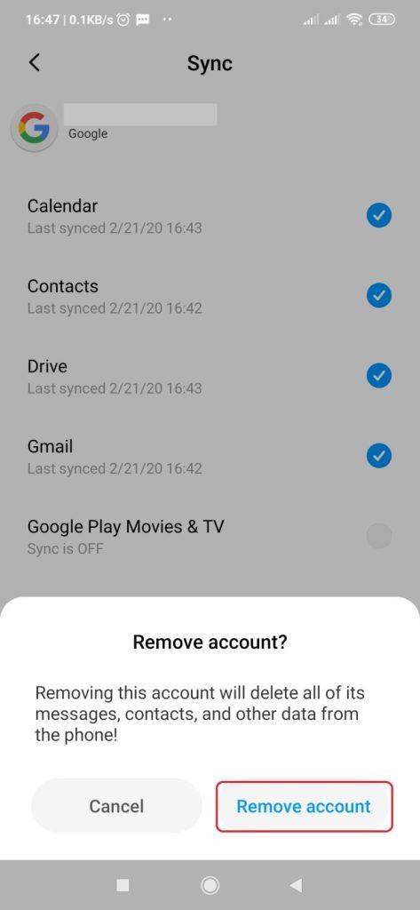 Pilih Remove account