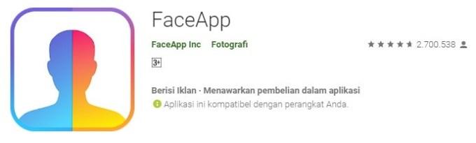 FaceApp aplikasi kamera mengubah wajah