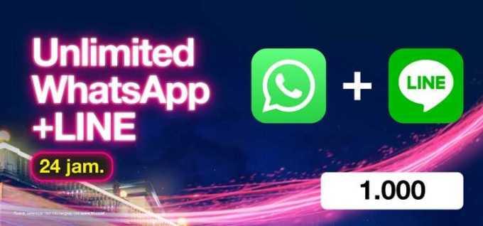 paket chatting whatsapp dan line seharian