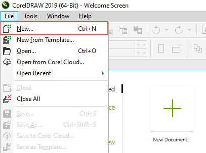 buat dokumen baru di coreldraw