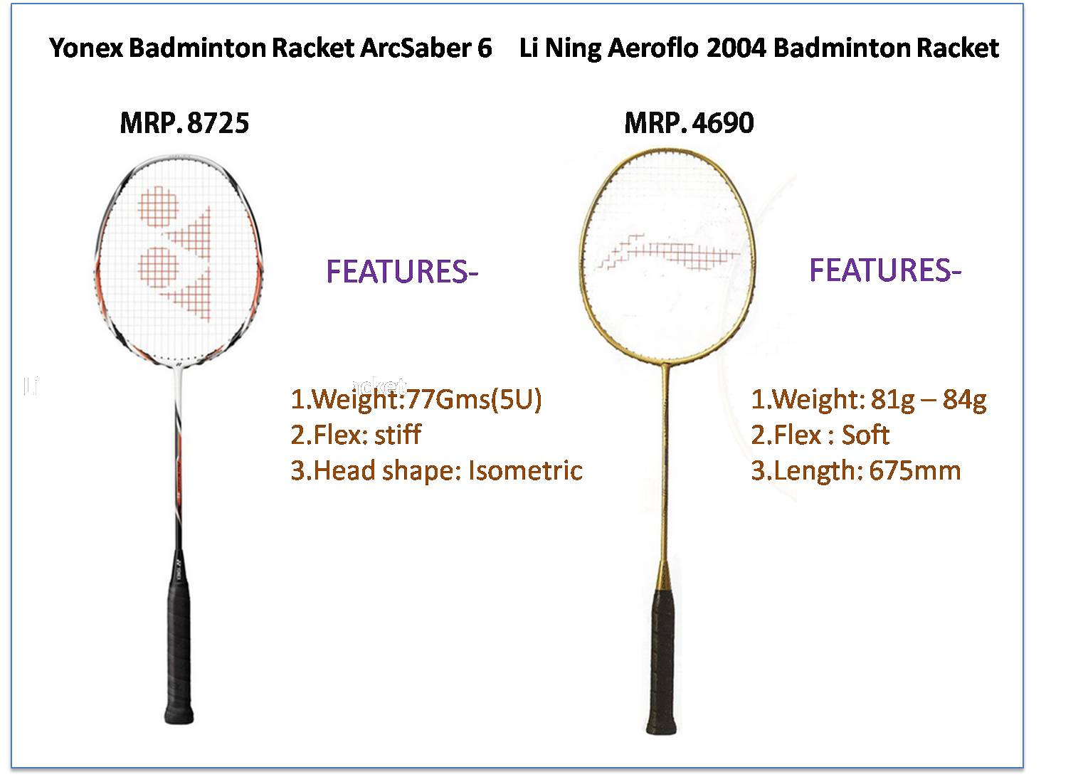 Comparison Between Yonex Arc Saber 6 And Li Ning Aeroflo