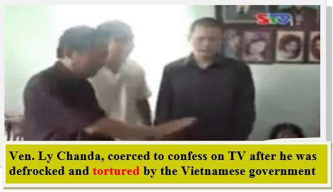 Vietnamese State television humiliate indigenous Khmer-Krom monk (Ven. Ly Chanda) after his force defrocked and torture