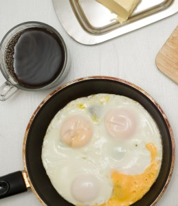 Eggs in frying pan with cup of coffee