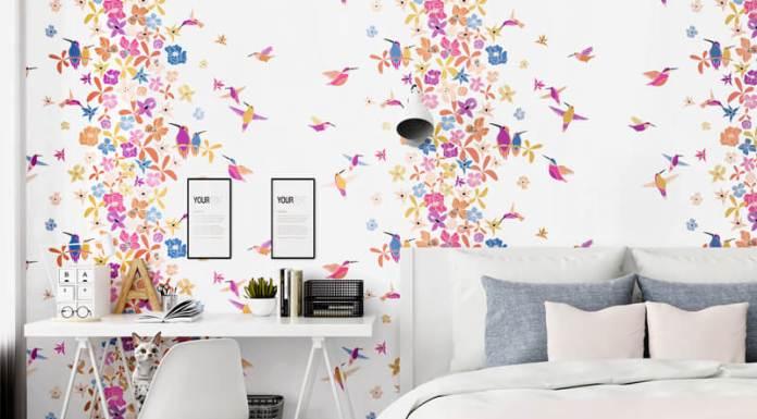 Giấy dán tường họa tiết chim hút mật hoa 3D259 màu hồng dán phòng ngủ