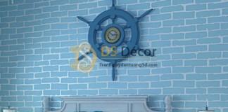 Giấy dán tường phòng khách giả gạch xanh 3D009