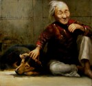 Friend Of Elderly - Oil On Canvas 28 x 30 inch