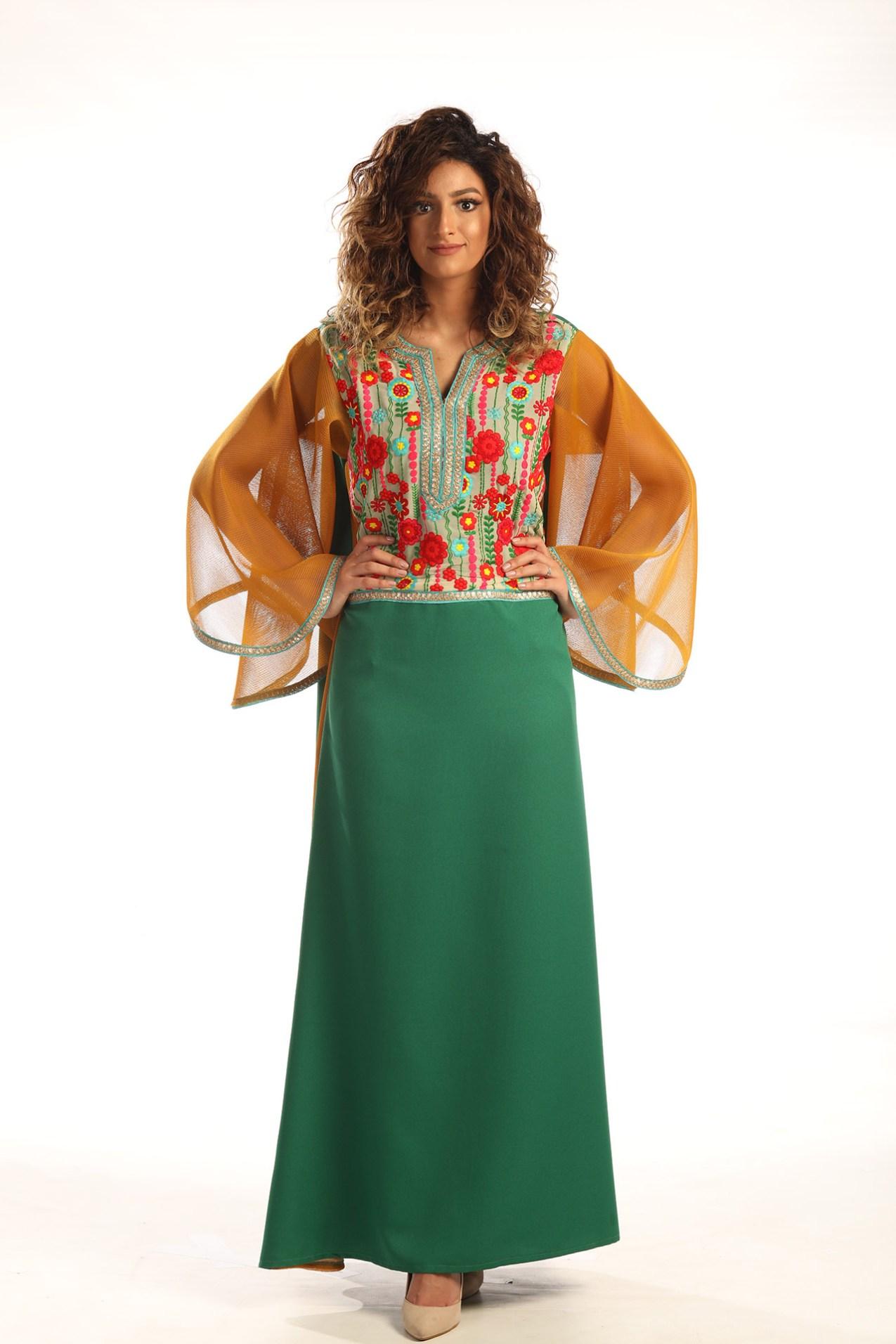 873c065bf6739 Long Green Dress with Wide Sleeves – متجر خود للأزياء – أناقة بلا ...