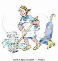 30281-Clipart-Illustration-Of-A-Pleasant-Caucasian-Housewife-Maid-House-Keeper-Custodian-Or-Janitor-Woman-Mopping-A-Floor-Near-A-Broom-And-Vacuum