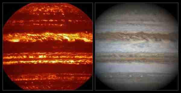 Comparison ofJuno-jüpiter-karanlık_hidrojen-nasa-gezegen VISIR and visible light views of Jupiter