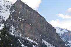 Cliff face half way through valley