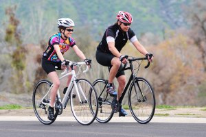2 cyclists riding KHS Flite road bicycles