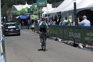 Elevate KHS pro cycling's James Piccoli staring the first stage of the Tour of Utah.