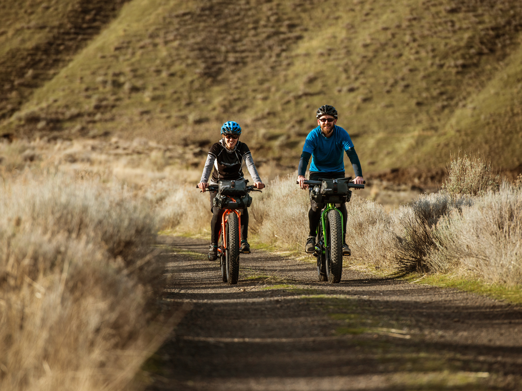 Two riders riding KHS 4 Season Fat Tire Bikes