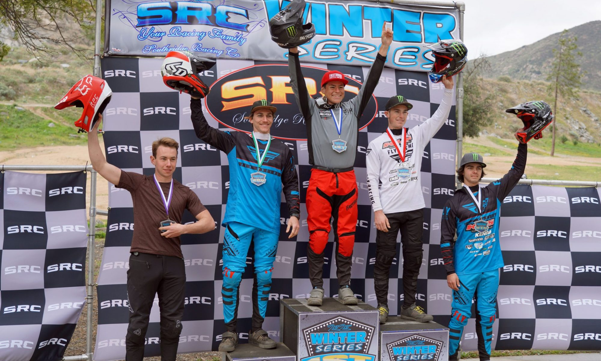 KHS pro mtb team riders Nik Nestoroff and Steven Walton on the podium in Fontana racing at the Southridge winter Series.
