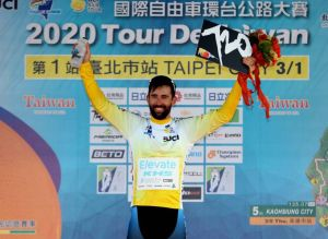 KHS Elevate Webiplex rider Eric Young in yellow leaders jersey after winning stage one at the Tour de Taiwan.