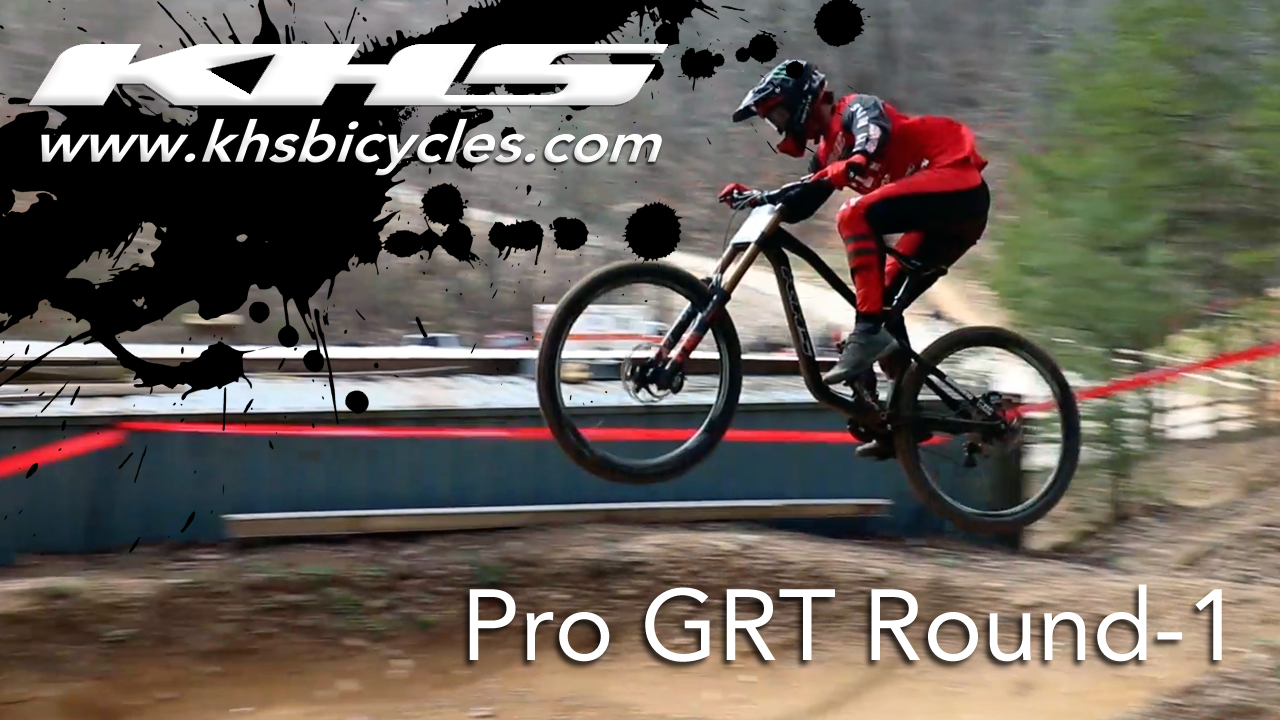 KHS pro MTB team rider Steven Walton jumping his bike at the Pro GRT round one