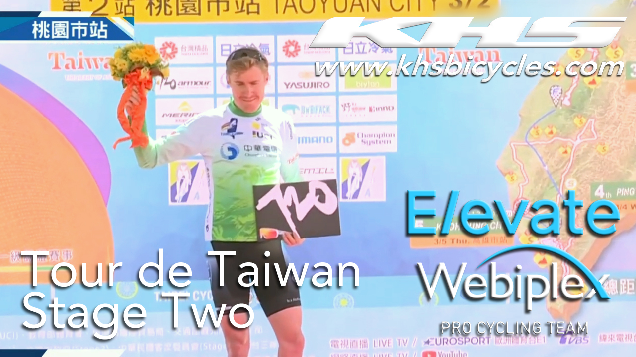 KHS Elevate Webiplex team rider, Sam Bassetti on podium for being sprint leader in the second stage of the Tour de Taiwan.