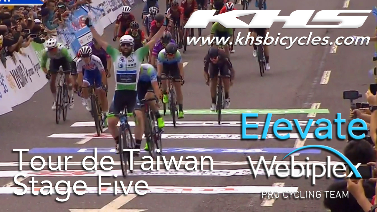 KHS Elevate Webiplex team rider, Eric Young crossing the finish line in 1st place in stage five of the Tour de Taiwan.