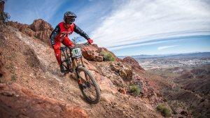 KHS Team Racer Logan Binggeli riding down the mountain in Utah