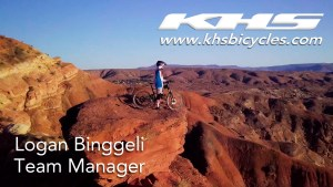 KHS Pro MTB team Manager Logan Binggeli standing on rock in Southern Utah with his KHS 6600 bike.