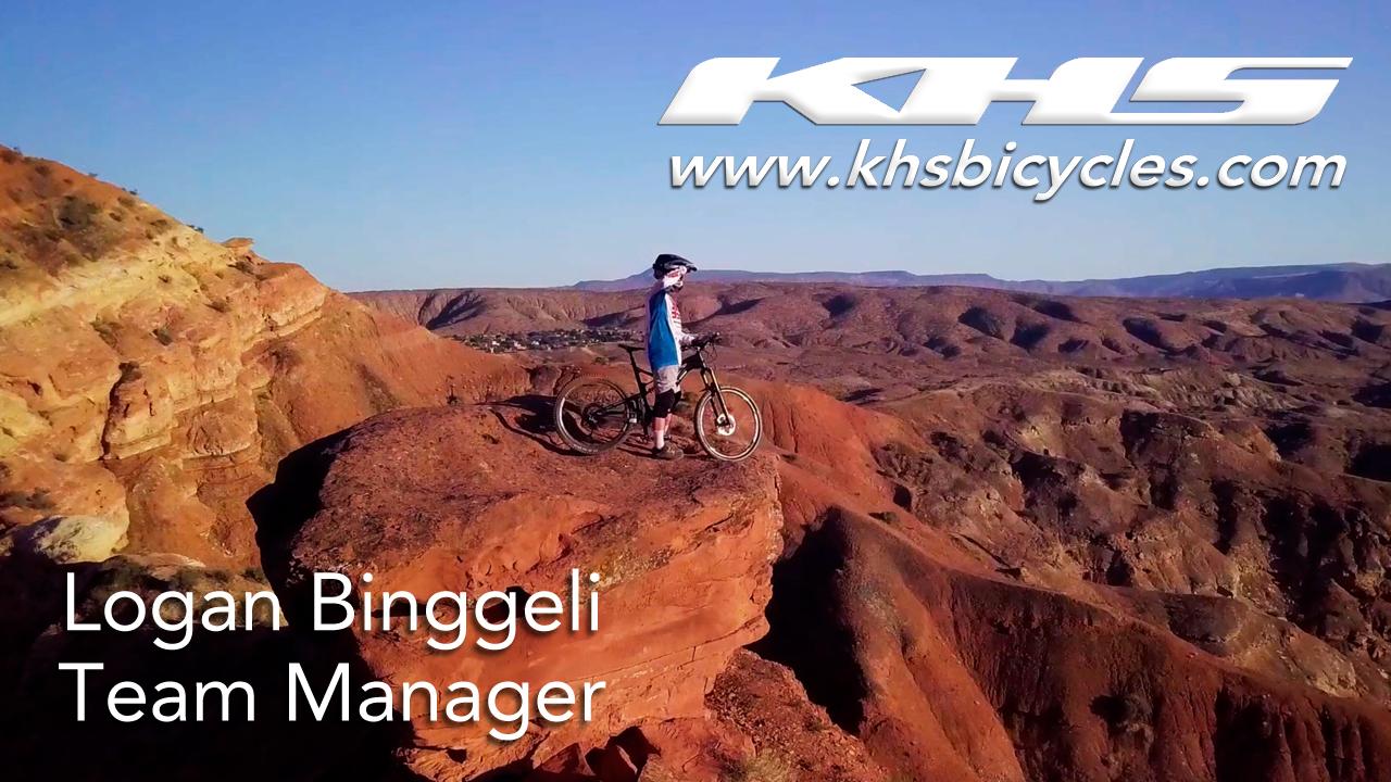 KHS Pro MTB team Manager Logan Binggeli standing on rock in Southern Utah with his KHS 6600 bike.