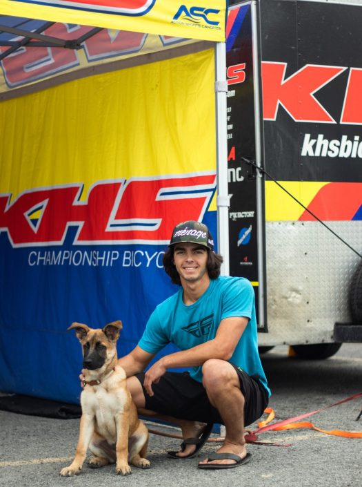 KHS Pro MTB team rider Steven Walton with his puppy.