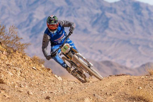 KHS Pro MTB team rider Nik Nestoroff racing at the Nevada State Championship at Bootleg canyon.