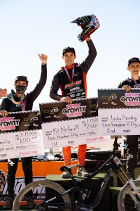 KHS Pro MTB team rider Nik Nestoroff on the podium after winning the Nevada State Championship at Bootleg canyon.