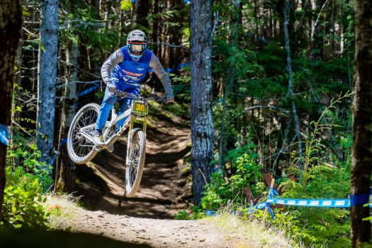 KHS pro MTB rider Nik Nestoroff on track during a practice run at the Northwest Cup in Port Angeles, WA.