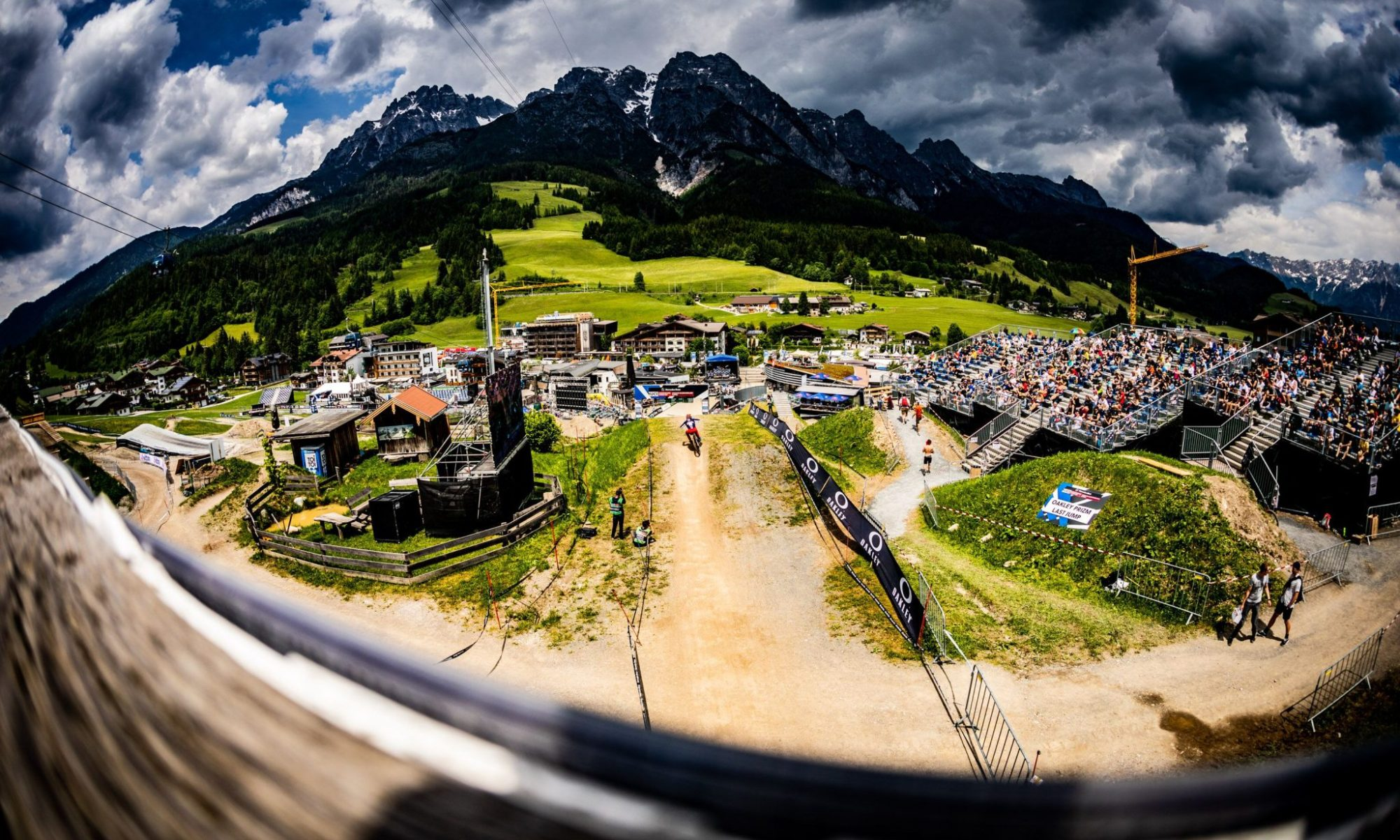 Finish line at first World Cup race of 2021 in Leogang, Austria.