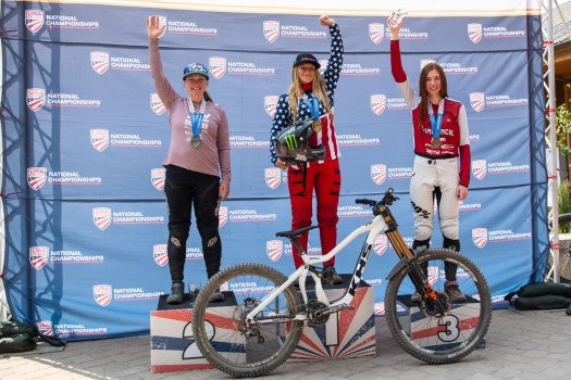 KHS Pro MTB rider Kailey Skelton on the podium as the new 2021 US Women's National Downhill Champion in Winter Park Colorado