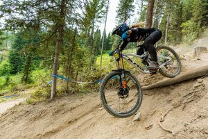 KHS Pro MTB rider Kailey Skelton on track for her race run at the third stop of the Northwest Cup in Montana.