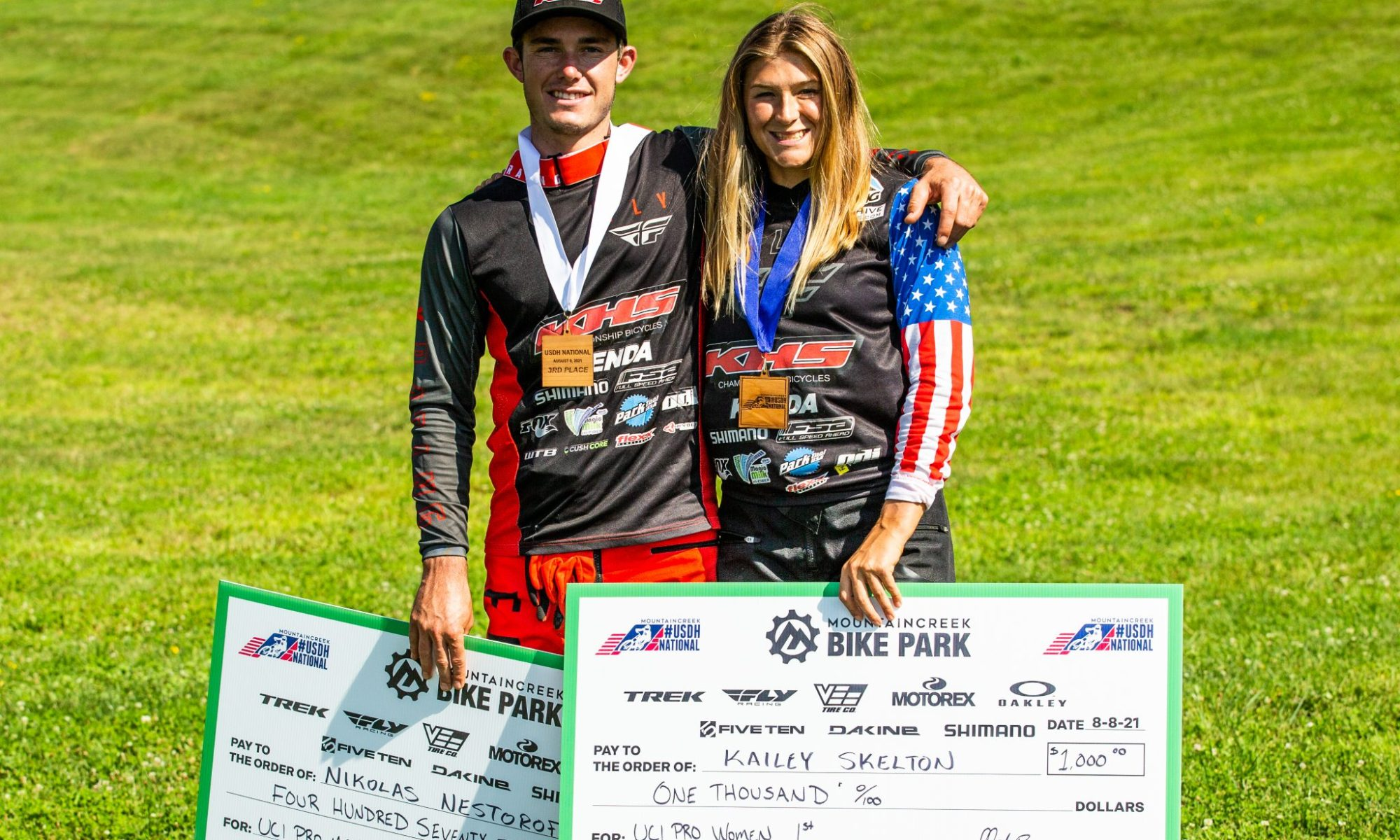 KHS pro MTB riders Kailey Skelton and Nik Nestoroff together after the podium ceremony.