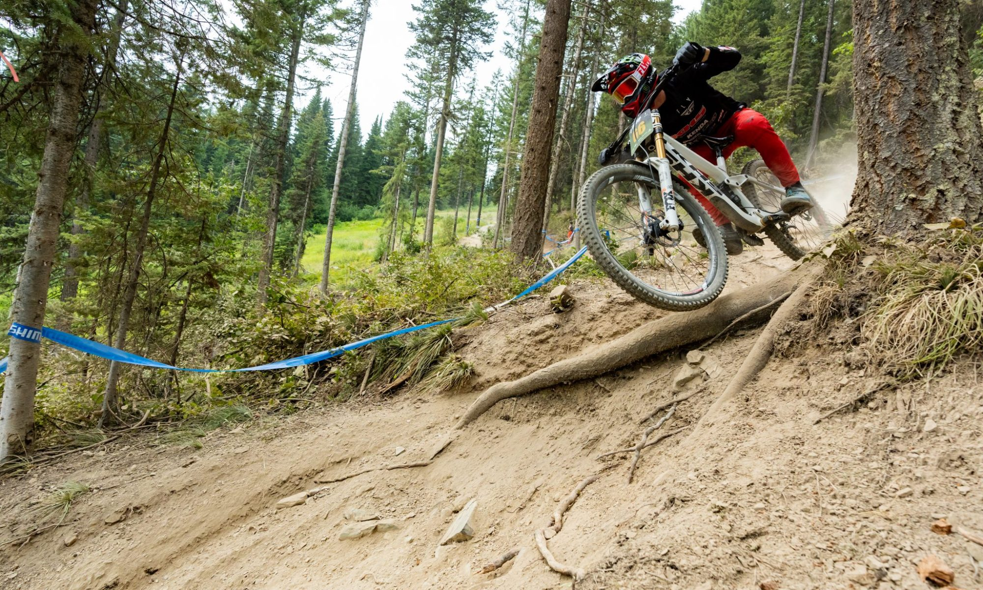 KHS Pro MTB rider Nik Nestoroff on track for his race run at the third stop of the Northwest Cup in Montana.