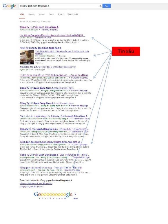 """Kết quả tìm kiếm trên Google ngày 2/3/1014 với cụm từ khóa """"công ty gạch men đông nam á"""""""
