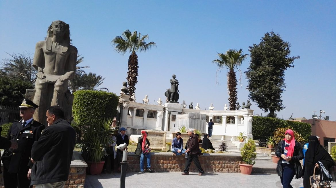 Statues outside the Egyptian Museum.jpg