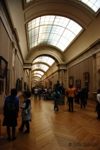 One of the many art clad halls of the Louvre