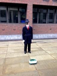 An amusing street performer near the Millennium Bridge