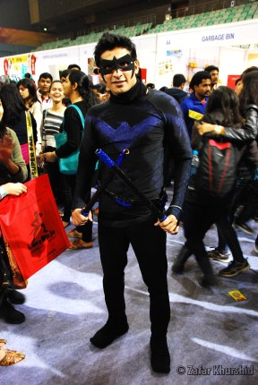 A well done homemade Nightwing cosplayer