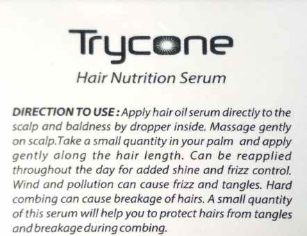 Usage Directions Of Trycone Hair Nutrition Serum