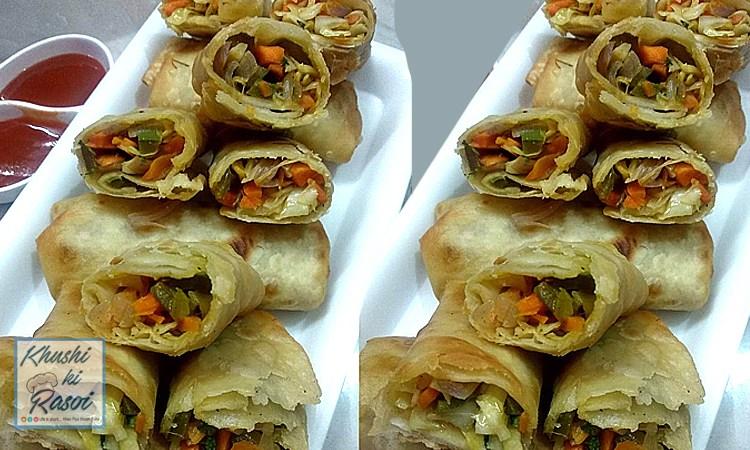 वेज स्प्रिंग रोल रेसिपी | How to make Easy and yummy Veg Spring Roll | Chinese Recipes