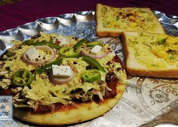पिज्जा और कॉर्न गार्लिक ब्रेड रेसिपी | Amazing Pizza and Corn Garlic Bread Recipe