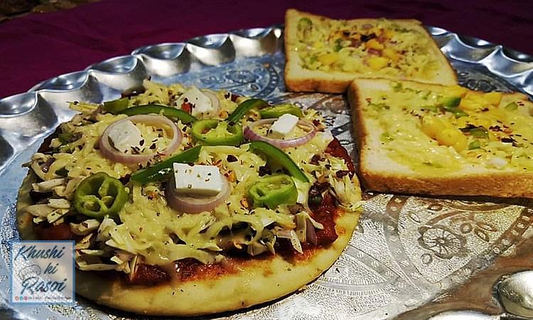 पिज्जा और कॉर्न गार्लिक ब्रेड रेसिपी   Amazing Pizza and Corn Garlic Bread Recipe